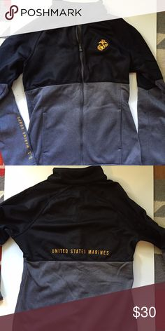 Under Armour Jacket Under Armour zip up jacket, women's size small. Never been used, USMC logo and wording all embroidered. Under Armour Jackets & Coats