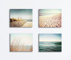 Beach Canvases Set - four coastal photography blue beige brown canvas gallery wraps cream ocean sea nautical wall art landscape print set by CarolynCochrane on Etsy https://www.etsy.com/listing/196981768/beach-canvases-set-four-coastal