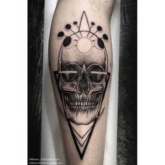 skull dotwork tattoo by Otheser Saketattoocrew blackwork geometric