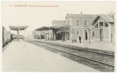 Estacion Ferrocarril del Norte : Castellón. (s.a.) - Anónimo Ghibli, Taj Mahal, Building, Parking Lot, Antique Photos, Norte, Train, Girls, Buildings