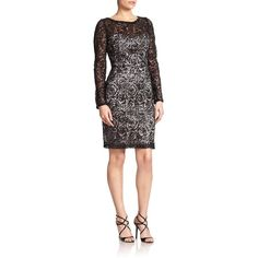 Sue Wong Beaded Rose-Lace Dress found on Polyvore featuring polyvore, fashion, clothing, dresses, apparel & accessories, lace-sleeve dress, long sleeve lace dress, red long sleeve cocktail dress, lace dress and lace sheath dress