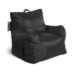 The big maxx is everything you love about the classic bean bag chair, but with the added support of a backrest. store your tv remote, mp3 player, ipod or magazines in the side pocket and top handle makes moving easy. available in two sizes and a variety of weather-resistant nylon fabric.