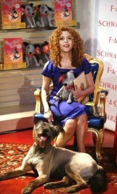 Bernadette Peters and her rescue dog (which she bought with the help of her close friend, Mary Tyler Moore), at FAO Schwartz promoting her new book and stuffed doggie, Broadway.