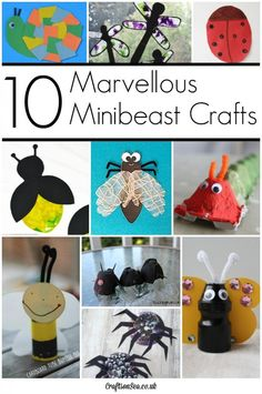 These fantastic minibeast crafts are great fun for kids to make. Spiders, caterpillars, butterfly and snail crafts plus loads more!
