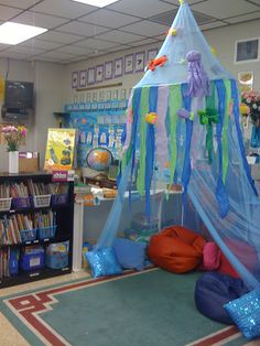 """Awesome idea for a reading corner- to match with """"under the sea"""" theme Classroom Setting, Classroom Setup, Classroom Design, Kindergarten Classroom, Future Classroom, Classroom Displays, Reading Corner Classroom, Book Corner Eyfs, Welcome Door Classroom"""