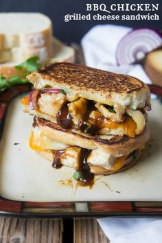 BBQ Chicken Grilled Cheese Sandwich - BBQ chicken meets Grilled Cheese and it's a match made in heaven.