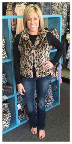 Leopard vest, $39.95 Silver Jeans Company slim bootcuts, $99