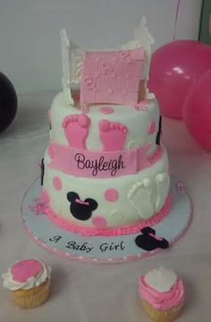 2 Tier Minnie Mouse W/ Baby Crib And Blanket Baby Shower Cake on Cake Central