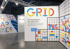 Exhibition Design on Behance Seattle Art, Seesaw, Environmental Graphics, Exhibition Space, Color Activities, Visual Communication, Simple Shapes, Presentation Design, Design Awards