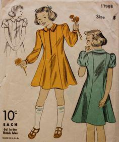 1940s Girls Princess Seamed Dress DuBarry 1798B Vintage Sewing Pattern by BluetreeSewingStudio on Etsy