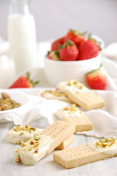 White chocolate dipped shortbreads with Pistachio