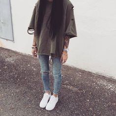 @benitathediva  White sneakers with an oversized tshirts. Cute cozy outfits. Tumblr outfit. lazy day outfits, cute comfy clothes.