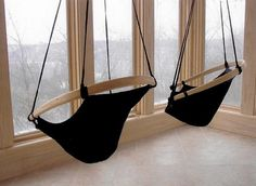23 Interior Designs with Indoor Hammocks Interiorforlife.com Black hammocks near the window minimalistic design