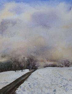 Watercolor Sky, Water Colors, Artist Art, Art Images, Landscape Paintings, Minis, Faces, Clouds, Doors