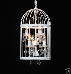 Chic White Birdcage CUT GLASS Antiqued Crystal Style Chandelier Shabby Pendant