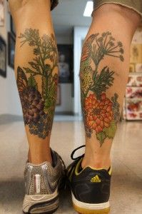 Flower Butterfly Leg Tattoos