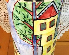 Houses vase 1 - by Suzi Dennis