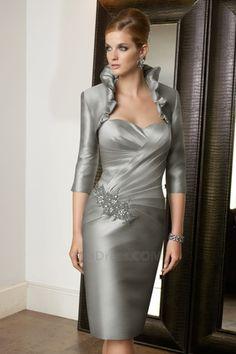 Corpete plissado Mid Voltar Cetim Verão Com jaqueta Completa Vestido para a mãe da noiva - Página 1