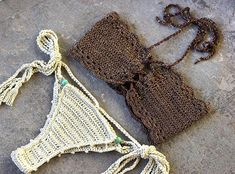 Bikiní del ganchillo vestido sistema del bikiní del