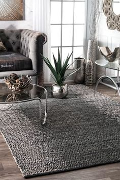 Rugs USA Gray Haymarket Ombre Diamond Leather rug - Casuals Rectangle x Dark Grey Couches, Rectangular Rugs, Buy Rugs, Rugs Usa, Contemporary Rugs, Online Home Decor Stores, Rugs In Living Room, Grey Leather, Soft Furnishings