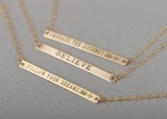 Check out this item in my Etsy shop https://www.etsy.com/listing/244160101/personalized-skinny-bar-necklace