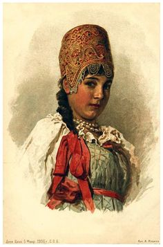 young maiden in traditional Russian costume. postcard
