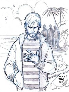 "Charlie Pace, by the late, great Mike Wieringo. It's interesting that he has added ""HATE"" to his ""FATE"" and ""LATE"" finger tapes."
