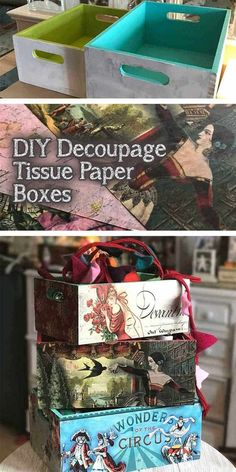 Decoupage ideas for wood storage boxes using Modge Podge and tissue paper. Includes tips and ideas for doing dix decoupage projects. Vintage designs for my home office. Decoupage Tissue Paper, Tissue Paper Crafts, Decoupage Box, Decoupage Furniture, Decoupage Ideas For Kids, Napkin Decoupage, Wood Storage Box, Diy Storage, Storage Ideas