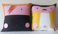 David Bowie & Freddie Mercury rock cushion covers by Morondanga