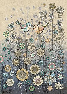 Birds Meadow by Jane Crowther. Design for Bug Art greeting cards.