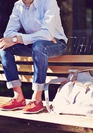 Red and blue casual men style