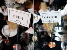 Art Deco inspired wedding signs | Karen & TJ's vintage meets Art Deco inspired Alexandria, VA wedding at the Carlyle Club | Images: Amie Otto Photography