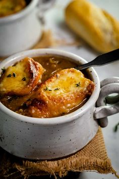 This easy French Onion Soup recipe can be made in the Slow Cooker, Stove Top, or Instant Pot. It's purely traditional and simply the best! #crockpotsouprecipes #souprecipe #meatlessmeals #freezermeals #comfortfood Crock Pot Recipes, Onion Soup Recipes, Easy Soup Recipes, Lamb Recipes, Dinner Recipes, Cooking Recipes, Crockpot Ideas, Easy Cooking, Gourmet Recipes