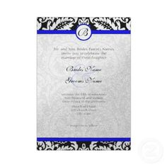 Royal Blue Wedding Invitations on Black Damask With Royal Blue Wedding Invitations At Zazzle Ca