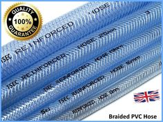 This braided hose is ideal for factory airlines, fluid systems and many industrial applications. BRAIDED PVC HOSE IN CLEAR & BLACK. Temperature range to Flexibility good. Water Hose, Water Pipes, Flexible Hose Pipe, United Kingdom Countries, Braided Hose, Fuel Oil, Oil Water, Fish Ponds, Water Supply