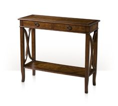 """A cerejeira veneered and mahogany console table, the rectangular crossbanded and moulded edge top above two frieze drawers, on square legs joined to the sides by wavy """"X"""" stretchers and on splayed legs, joined by a crossbanded undertier. Inspired by a 20th century French original."""
