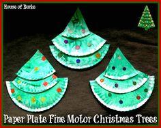 Paper Plate Fine Motor Christmas Trees - House of Burke