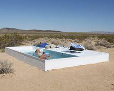 alfredo barsuglia sites social pool in remote area of the mojave desert