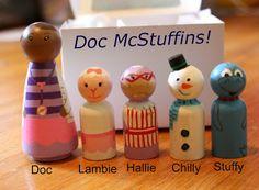 Polka Dots And Pig Kisses : Hand Painted Doc McStuffins Peg Dolls