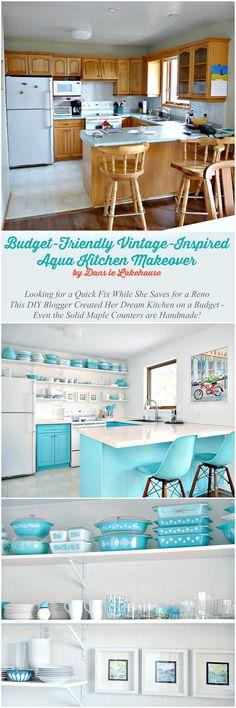 Dans le Lakehouse : A Budget-Friendly Aqua Kitchen Makeover