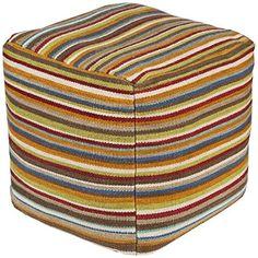 Surya POUF-149 Hand Made 80% Wool, 20% Cotton Venetian Red 18