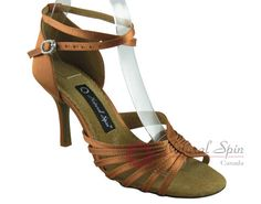 Natural Spin Signature Latin Shoes(Open Toe):  H1139-01_DrTanS