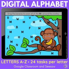 These digital alphabet activities have 24 different tasks for each letter. The tasks all included moveable pieces which feels like they are playing tablet or computer games Skills in these digital alphabet activities include: Letter identification, Letter formation, Letter matching, Vocabulary, Finding the letters, Beginning sounds, Sorting letters, Sorting beginning sounds, Reading, Building letters, Problem Solving, Digital letter crafts at the end of each letter, and more!