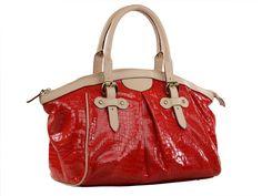 Bolsa Feminina em couro estampa croco, com detalhes e alças em couro liso contrastante.