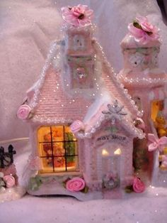Pink Lighted Victorian Christmas Village Toy Shop House~HP~Roses Ribbons~Chic