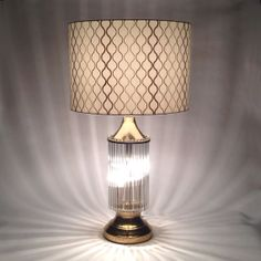 FREE SHIPPING* - Mid Century Modern Lamp with Shade LARGE / Sciolari Era / Glass Rod and Gold Brass