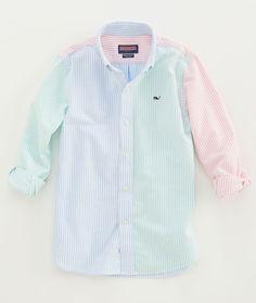 Boys' Sport Shirts: Tri-Color Stripe Whale Shirt For Little Boys' - Vineyard Vines