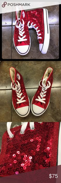 Kids red sequin Converse high tops sneakers shoes Never been worn adorable hi tops in a child size 2. Hand sequined by Princess Pumps. Converse Shoes Sneakers