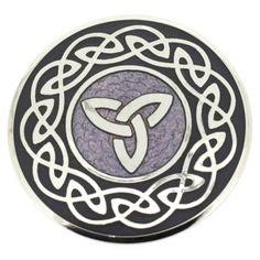 Round Purple Enamel & Silver Celtic Trinity Knots Brooch