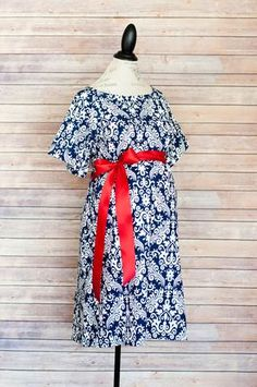 Navy Damask - Maternity Labor and Delivery Hospital Gown